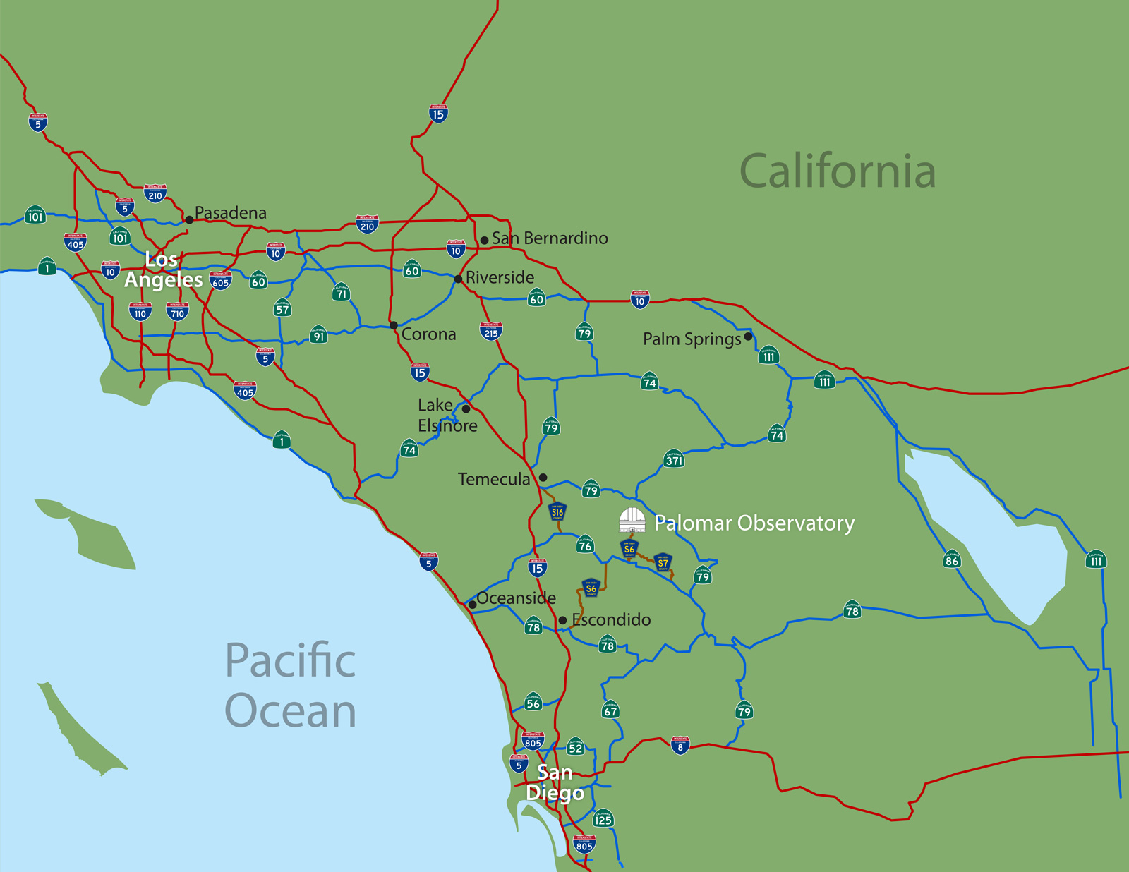 driving directions to palomar observatory - southern california road map