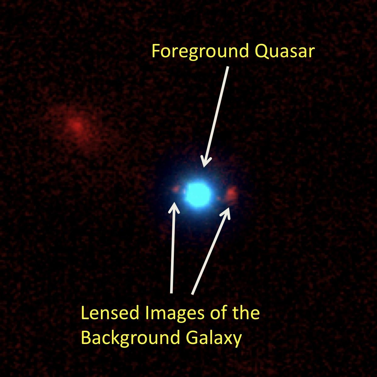 Обнаружен первый квазар, линзирующий удаленную галактику